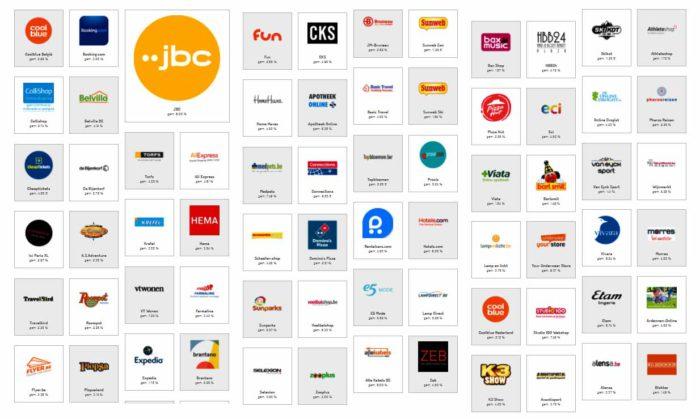 Overzicht van tal van beschikbare webshops